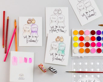 COLORING CARDS-Will you be my Bridesmaid?//Maid/Matron of Honor/Flower Girl/Junior Bridesmaid DIY coloring