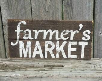 "Farmer's Market Rustic Sign 23"" Long Farmhouse Kitchen Sign Fixer Upper Magnolia Market Style"