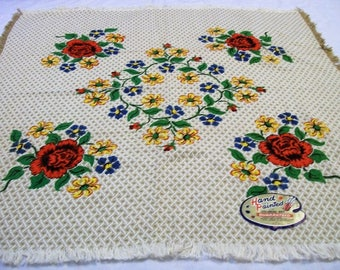 Vintage Tablecloth, Tablecloth with Red Roses, Colonial Art Tablecloth, Hand Painted, NOS, Homespun Tablecloth