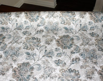 1 meter of 100% white linen floral print