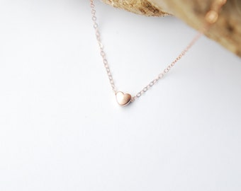 Delicate Chubby Heart Necklace. Layering Necklace. Minimalist. Rose or Yellow Gold filled or Sterling Silver Necklace.