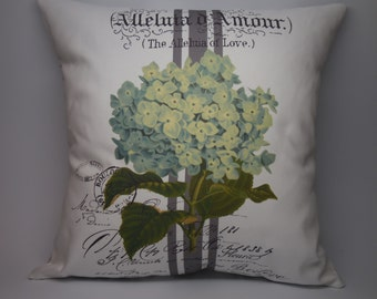 French Hydrangea Pillow, Rustic French Farmhouse, Shabby Chic, Farmhouse Pillows, B5,  INSERT INCLUDED