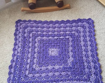 Shades of Purple Shells Baby blanket- ready to ship