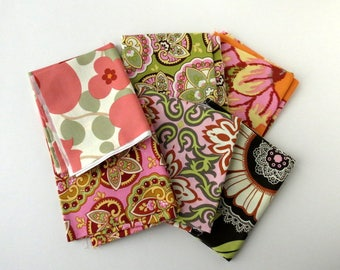 Amy Butler, out of print fabric, fabric destash, Lotus collection, fat quarter bundle, floral fabric, designer fabric, Westminster, set of 6
