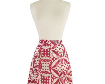 Vintage Half Apron in Red and White Deco Dots