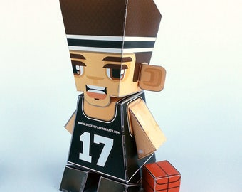 BLACK Basketball DIY Paper Toy Craft Activity – Super craft gift for boys and girls, makes a great sports party craft activity
