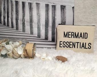 Mermaid Essentials Makeup Bag / Cosmetic Bag / Toiletry Bag / Gift / Quote Zipper Bag