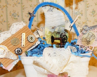 Altered Art Berry Basket ,'' Sewing Room'' Theme, Miniature Metal Vintage Style Sewing Machine, Lace, and other notions