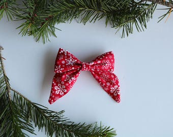RED & WHITE SNOWFLAKE Large Sailor Bow - Toddler Bow - Girl Bow - Sailor Bow