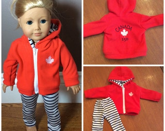 "18"" doll clothes. happy 150th birthday Canada hoodie set. Canadian girl"