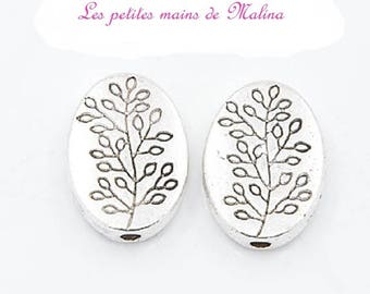 set of 5 beads flat and oval, etched with a branch d ' tree