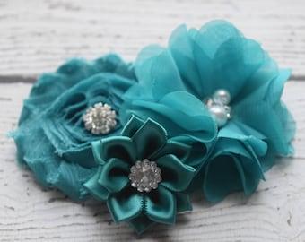 Teal hair clip, #2,flower clip, clip, wedding clip, flower girl hair clip, maternity hair clip