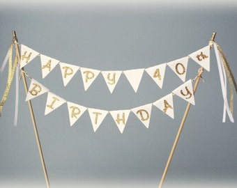 White and gold glitter cake bunting banner topper.  Birthday, baby shower, bridal shower, 40th birthday, 30th birthday, 50th, adult.