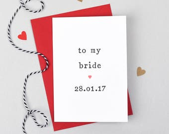 Groom Wedding Card, Bride Wedding Card, Groom Wedding Day Card, Card for Bride, Card for Groom, Wedding Day Card, Bride Card