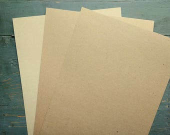 "25 Sheets Kraft Card Stock, 8.5x11"" Cardstock, 100% Recycled 8 1/2x11"" (216x279mm) 65-105lb. cover, grocery bag kraft brown or light brown"