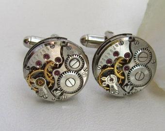 Steampunk Watch Movement Cufflinks Wedding Groom Mens gifts Men's style Cuff links  Gift for Him Birthday gift Silver cufflinks gift for dad