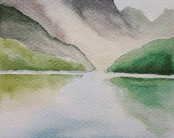 Original Mountain Reflections Watercolor Painting