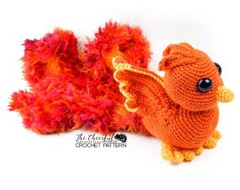 Phoenix Crochet Pattern -  Fire Bird Crochet Pattern - Phoenix Amigurumi Pattern - Bird Crochet Pattern - Amigurumi Pattern