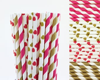 Hot Pink and Gold Paper Straw Mix-Hot Pink Straws-Gold Straws-Heart Straws-Striped Straws-Valentines Day Straws-Wedding Straws-Paper Straws