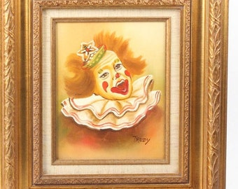 Framed 'Trudy' Clown Painting Oil on Canvas