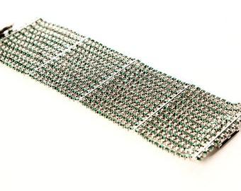 Roberta Chiarella Emerald Green Swarovski Jewelry Wide Bracelet Vintage Style