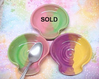 Pottery Spoon Rest, Ceramic Tea Bag Holder, Dipping Bowl, CHOICE of COLOR,  Yellow, Pink, Fuchsia Purple