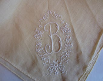 Vintage Off White Handkerchief with Monogram M embroidered, Monogram M Vintage Off White Handkerchief, Vintage Off White Wedding Hankie