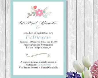 Printable wedding invitations with flowers, digital bridal invitation premade
