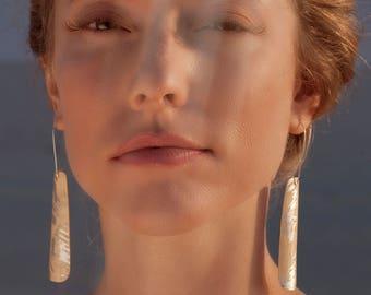 White Sycamore wood and pure silver earrings, large boho earrings, wooden earrings, statement earrings, nickel-free hooks