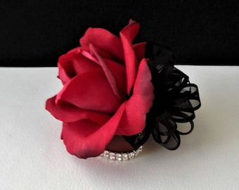 Ready to Ship Red Real Touch Rose Wrist Corsage-Prom Corsage-Red and Black Corsage-Wedding Corsage