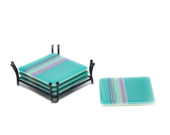 Turquoise Drinks Coaster Set - Housewarming Gift - Unique Coaster Set - Hostess Gift - Party ware- Glass Modern Bar Coasters -4061