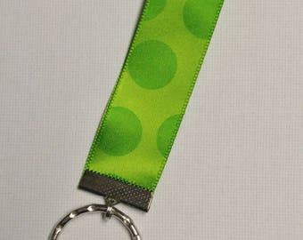 Key Chain, Green Polka Dot Key Chain, Ribbon Key Chain, Key Chain, Key Holder, Ribbon Key Fob, Key Fob, Zipper Pull