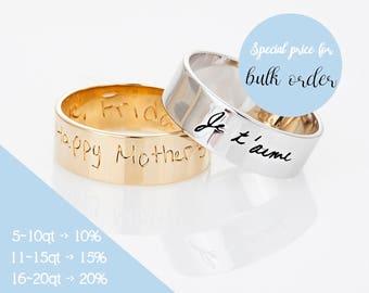 Custom Handwriting Ring, Actual Handwriting Ring, Personalized Gold Ring, Handwritten Jewelry, Memorial Jewelry, Rose Gold Ring, Gift