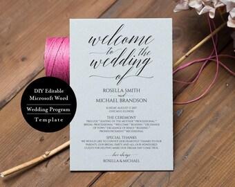 Printable Wedding Program Template, Instant Download, Editable Ceremony Program 5x7, MSW194