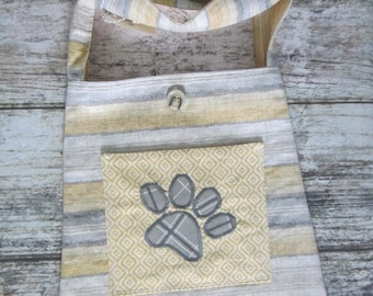 Bucket Bag/Tote - yellow and grey with paw print on pocket