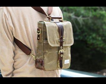Waxed Canvas vertical Messenger bag - convertible bag-  handmade - 010055