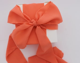 "Coral Ribbon. 3"" Wide Luxury Ribbon. Hand Torn and Frayed Crepe De Chine Ribbon Bundle. 3 Meter Lengths. Wedding Bouquet Ribbons. Gift Wrap"