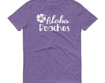 Aloha Beaches Tshirt Summer Hawaiian Hibiscus Flower Tee Shirt Family Group Beach Vacation T-Shirt Travel Theme Park Shirts Fathers Day