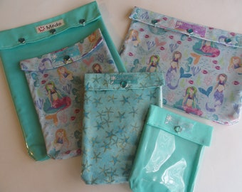 Mermaid Starfish & Aqua Ouch Pouch 5 Pack Clear Front Bags Summer Vacation Organizers First Aid Medication Sunscreen Beach Totes Personalize