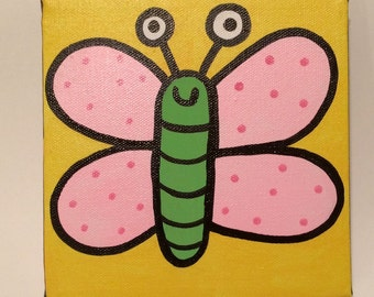 Wee Butterfly 6x6 Original Minipop Painting