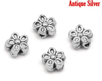set of 20 metal beads Silver Flower spacer 7 mm (1.3 mm hole)