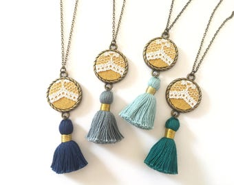 Lace Tassel Necklace | Mustard Yellow, Upcycled, Repurposed, Lace jewelry, Modern Vintage,  Vintage Jewelry, Feminine, Boho