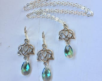 Silver Celtic Necklace & Earring Set With Paradise Green Swarovski Crystal Teardrops ST PATRICK'S DAY Jewelry