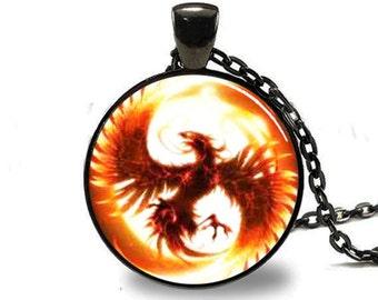 Phoenix Pendant, Phoenix Necklace, Pheonix Jewelry, Phoenix Charm Black (PD0127)