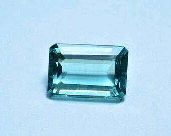 lab created  colour aquamarine faceted loose gemstone cushion.22x15x11mm..25ctsA#2207