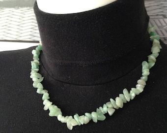 Gems green jade chips stones necklace
