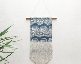 Medium Flood Block Printed Fringe Wall Hanging