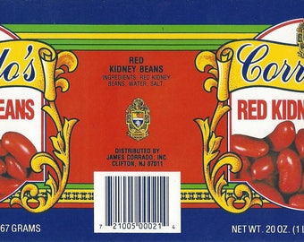 Vintage Corrado's Red Kidney Beans Original Lithograph Can Label, 1980s