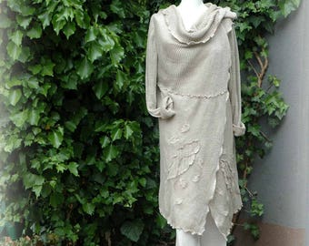 LINEN Cardigan ,Natural Delikate Grey Sweater,  Made of Pure Linen , Knitted, Hippie Clothes, Bohemian Clothing, Linen Cardigan