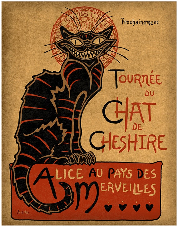 "Chat Noir mashup art with Cheshire Cat on premium matte paper with archival ink // Alice in Wonderland // Art print // ""Cheshire Cat"""